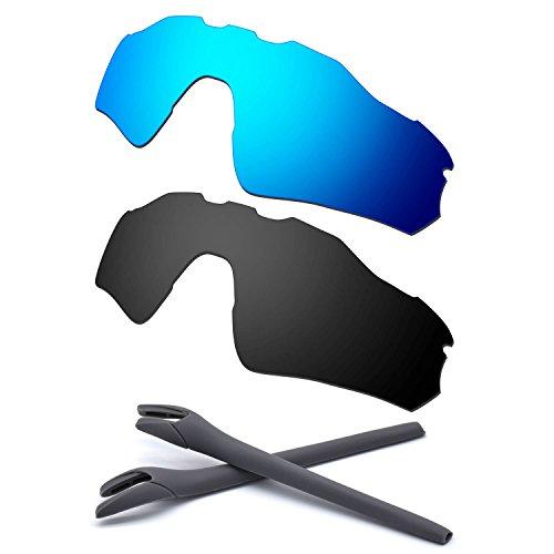 HKUCO For Oakley Radar EV Path Blue/Black Polarized Replacement Lenses And Grey Earsocks Rubber Kit