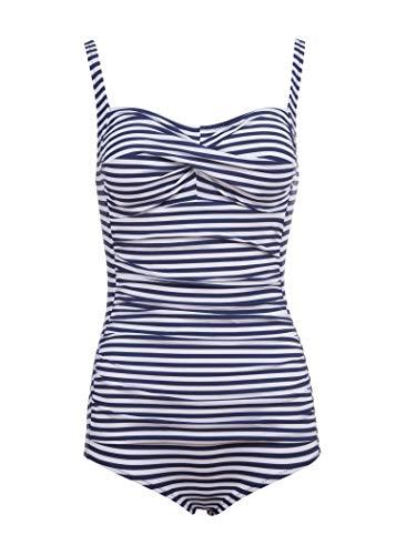 Blau Gestreifter Maritimer Damen Sailor Matrosen Badeanzug im Retro Vintage Look – Gr. M
