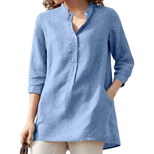 Camisa Tipo pulóver para Mujer Color sólido Talla Grande Cuello Alto Moda Sencillo Cómodo Casual Versátil Desplazamientos Diarios Blusa básica XXL