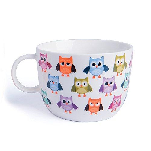 Excelsa Animals Tasse Jumbo, 450ml, Porzellan, Weiß Uhu 1 STK Mehrfarbig