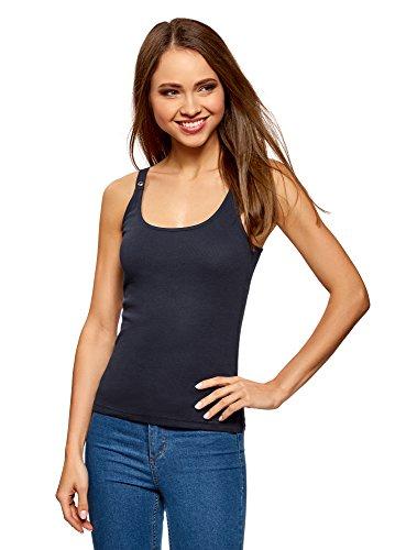 oodji Collection Mujer Camiseta Nadadora con Ojales en los Tirantes, Azul, ES 36 / XS