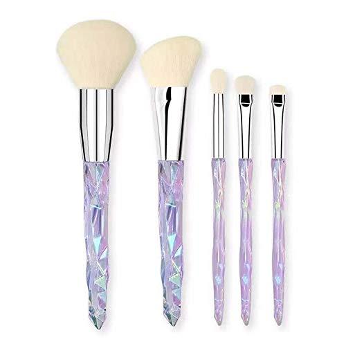 Pinceaux Pinceaux de maquillage en cristal ensemble 5 pcs poignée transparente poudre fond de teint poudre correcteur ombre à paupières sourcils pinceau Beauté du visage (Color : 02, Size : Libre)