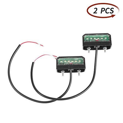 ETUKER 2 x LED Weiße Helle Kennzeichenbeleuchtung 6 LED Chips, 12V-24V Universal Wasserdichte Energiesparende LED Kennzeichenleuchte, Für LKW/Anhänger/RV/Cars/Motorrad/Kennzeichenbeleuchtung(2 stück)