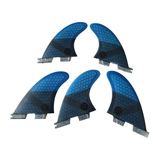 UPSURF Tabla de Surf FCS II Aletas Fibra de Vidrio Tri - Quad Fin Set Tener Panal para Surf Paddle Board (Azul K2.1)