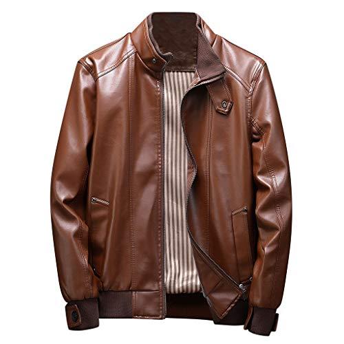 MAYOGO Herren Jacke Classic Retro Lederjacke Revers Bikerjacke Motorradjacke Echtleder Jacke Fliegerjacke Bomberjacke Piloten Jacke (Braun, XL)