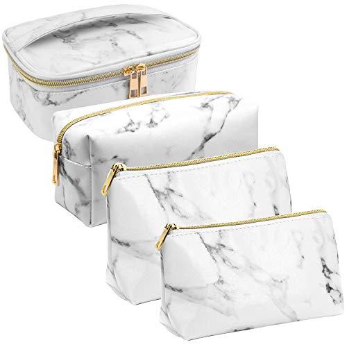 Phiraggit Kosmetiktaschen Make-up Marmor Taschen Tragbare Reise Kosmetiktaschen Kulturbeutel Federmäppchen zu organisieren Make-up Pinsel und Stifte für Frau und Mädchen (4 Stück) (Weiß)