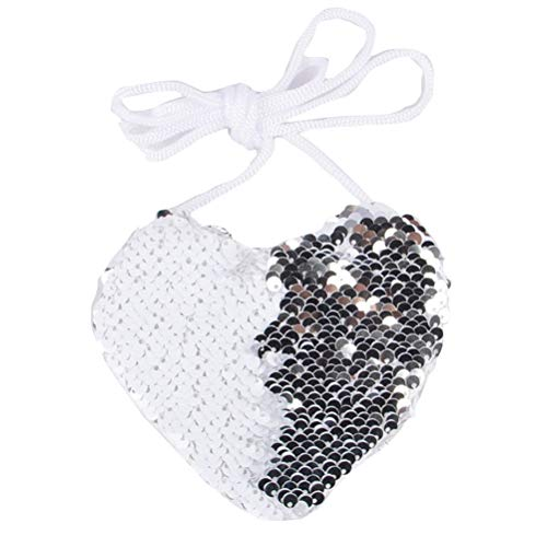 Creatief omkeerbare Love Heart Shining Sequins Coin Purse Girls Crossbody Bags Sling Card Holder wit