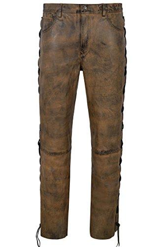 Smart Range Men's Biker Leather Trouser Dirty Brown Laced Motorcycle Style 100% Napa 00126 (Waist 32')