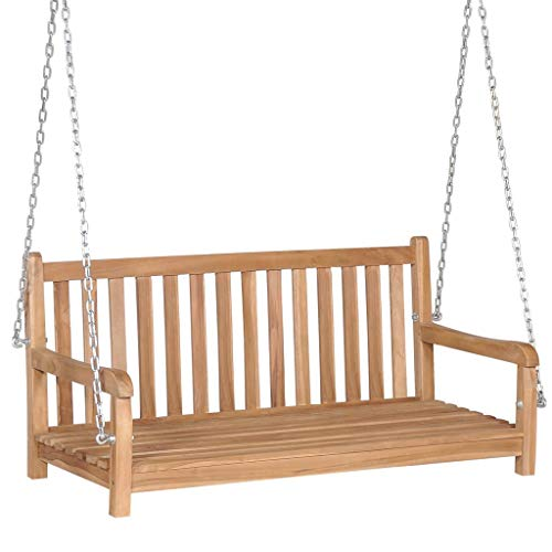 Lechistan Modern Style Outdoor Solid Wood Teak Swing Brown 120 x 60 x 57.5 cm with Two Chains