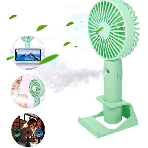 TAOXUE Mini Ventilador Ventilador De Escritorio Aerosol De Mano Recargable Portátil, Humidificador Y Agua Pulverizada USB con Luces De Noche Coloridos,Verde