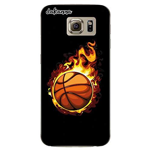 dakanna Funda para Samsung Galaxy S6   Balón de Baloncesto en Llamas   Carcasa de Gel Silicona Flexible Transparente