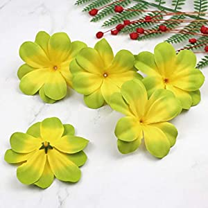 Artificial and Dried Flower 12pcs Green Artificial Silk Flower Head Plumeria Frangipani Heads 3 Inch for Wedding Garland Jewelry Accessories