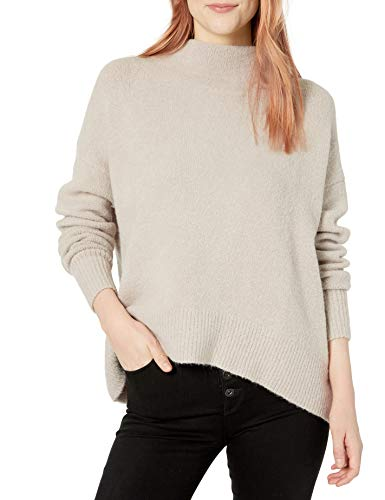 Cable Stitch Women's Mock Neck Cozy Sweater Large Light Grey