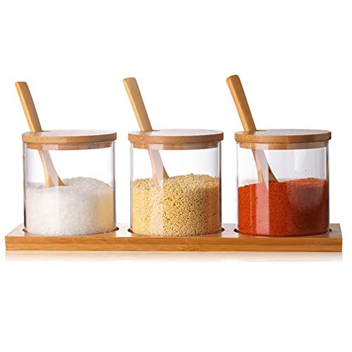 Condiment Container Seasoning Box Set Glass Condiment Canisters Pots with Wooden Spoon Lid and Base