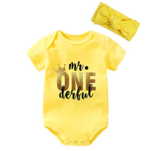 YSCULBUTOL Baby Twins Body Body de primer cumpleaños Baby Boy Diademas Body Mr One Derful Birthday Set - amarillo - 6-9 meses