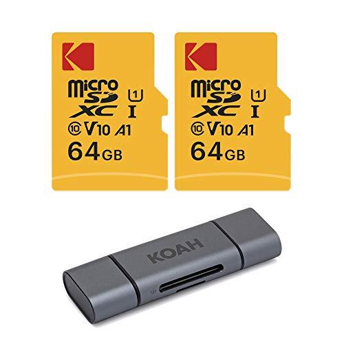 KODAK Tarjeta microSDHC de 64 GB clase 10 UHS-I U1 con adaptador (2 unidades) con aluminio Koah Pro 2 en 1 ranura doble lector de tarjetas SD (3 artículos)