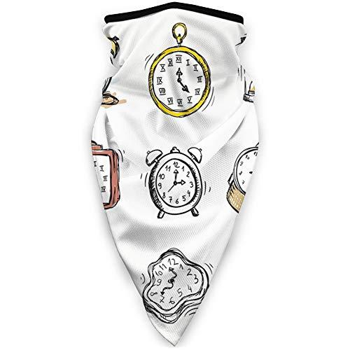 MLNHY cubierta de cara cómoda a prueba de viento, un surtido de relojes vintage y relojes doodled ilustración.jpg, decoraciones faciales impresas para todo el mundo
