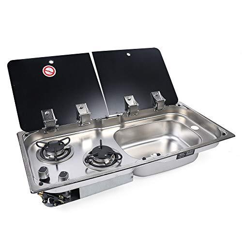 OUKANING 2 Flammen Gasherd Kochfeld und Spüle mit Glasdeckel für Wohnmobil Boat RV 2 Burner Gas Stove Sink with Tempered Glass