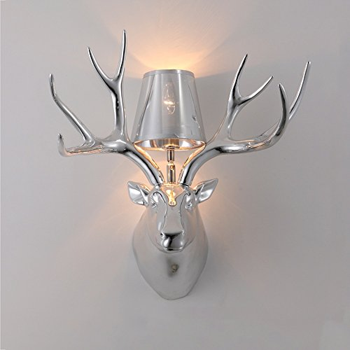 Slaapkamer Armaturen Deer Horn Wandlamp American Mat Zwart/wit Resin Blaker stoffen kap Creative Living Room looppad Studio Plating Goud/zilver E14 Licht van de Muur (5 kleuren) 50 * 48cm W Wandla