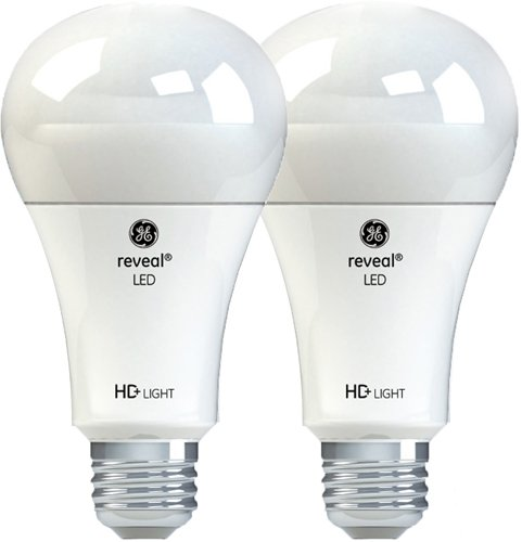 GE Reveal HD+ LED Light Bulb, 100W Replacement LED Light Bulbs, A21, 2-Pack LED Bulb, White, Medium Base, Dimmable LED Light Bulbs