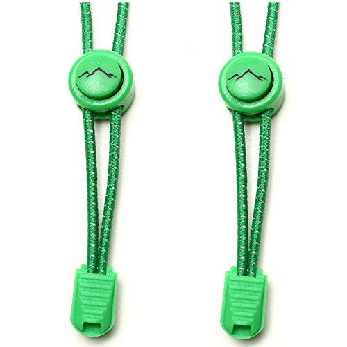 gipfelsport Elastische Schnürsenkel mit Schnellverschluss - Gummi Schnellschnürsystem ohne Binden   Schnürsystem für Kinder, Herren, Damen I 1x Paar: grün