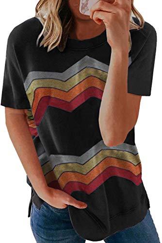 BTFBM Women Summer Short Sleeve Shirts Crew Neck Color Block Irregular Striped Print Loose Soft Casual Tee Tops Pullover