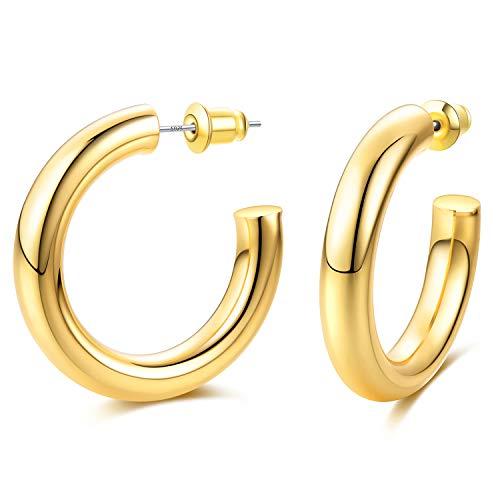 EARLLER Thick Chunky Open Hoops Earrings, 14K Gold Plated Gold Hoop Earrings, Lightweight Tube Hoop for Women And Girls - 925 Sterling Silver Post (30cm Gold Open Hoops)