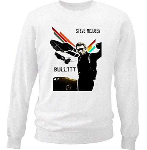 teesquare1st Men's MCQUEEN Steve Bullitt White Sweatshirt Size Large
