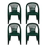 simpahome Stackable Clam Style Back Plastic Garden <span class='highlight'><span class='highlight'>Chairs</span></span> - GREEN - Set of 4 <span class='highlight'><span class='highlight'>Chairs</span></span> for Indoor or Outdoor Use.