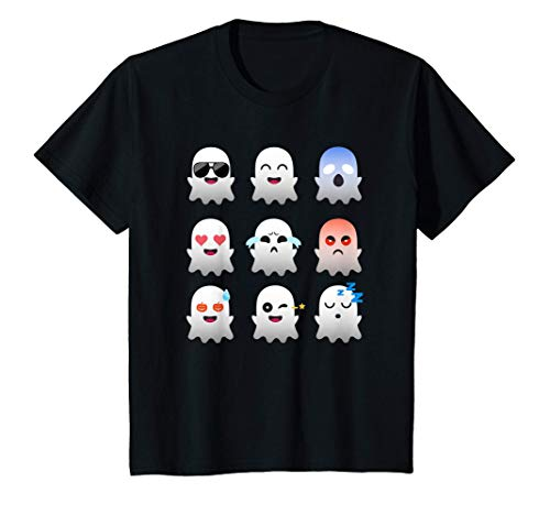 Kids 9 Ghosts Emoji Funny Ghost Halloween Costume Boy Girl Kid T-Shirt