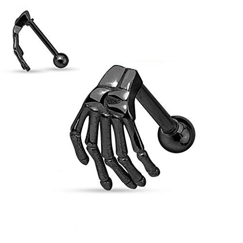 Gekko cuerpo joyas negro diseño con mano de esqueleto superior Acero Quirúrgico Cartílago de la oreja Cejas Barbell 1.2mm x 6mm