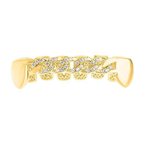 Iced Out One Size fits All Bottom Grillz - Zirkonia Curb Kette Gold