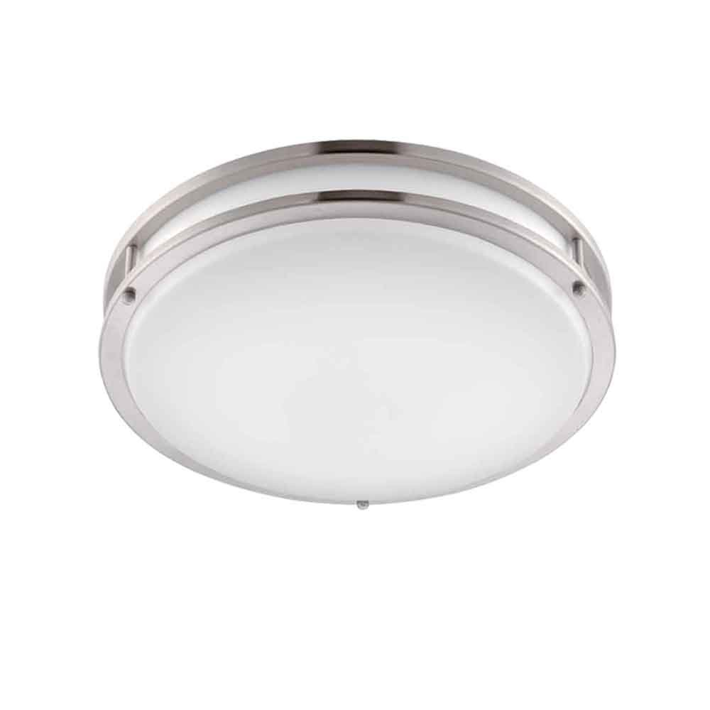 デザイナー噴水EV1414L30-35ロープロファイルLED埋め込みシャンデリア照明、35.56 cm、つや消しニッケル/白