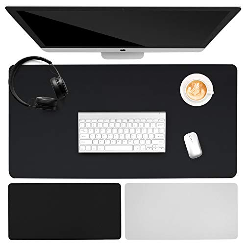 """Multifunctional Office Desk Pad, Ultra Thin Waterproof PU Leather Mouse Pad, Dual Sided Desk Writing Mat for Office/Home (35.4"""" x 15.75"""" , Black)"""