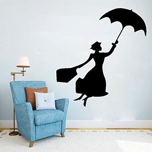 fancj Stilvolle Dame Wandaufkleber Regenschirm Schöne Frau Vinyl Wandtattoos Wohnzimmer Kunst Wohnkultur Mädchen Frauen Zimmer Aufkleber Wandbild