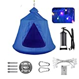 GARTIO Hanging Tree Tent, Waterproof Swing Play House, Portable Hammock Chair, with LED Decoration Lights, Inflatable Cushion, Suit for Adult and Kids Indoor Outdoor, Max Capacity 330lbs