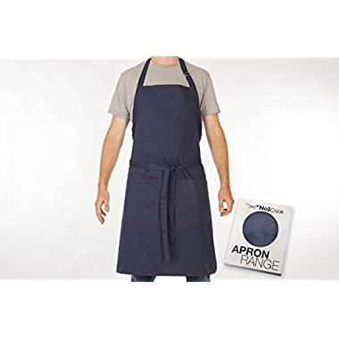 Cooking Apron by No1Cook - Professional & comfortable blue chef apron for men and women - Bib apron with pockets and adjustable neck - Suitable for plus size - perfect grilling apron