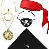 5 Accesorios de Disfraz de Capitán de Pirata Sombrero de Calavera Parche de Ojo Diadema Pendiente de Aro Collar para Disfraz (Estilo Vívido)
