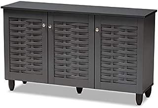 Baxton Studio Winda Dark Gray 3-Door Wooden Entryway Shoe Cabinet