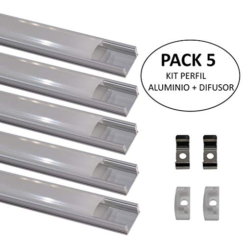 (LA) 5x Perfil de Aluminio 1m para Tira de LED con Cubierta Blanca Lechosa. Los tapones de los extremos y los clips de montaje de metal están incluidos en el Pack. (PACK X5)