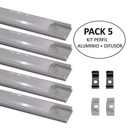 (LA) 5x Perfil de Aluminio 1m para Tira de LED con Cubierta