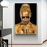 wZUN Cartel de Lienzo de Pintura al óleo de Mujer Africana Desnuda de Oro Negro y Cuadro de Arte de Pared de Sala de Estar decoración del hogar 60X90 Sin Marco