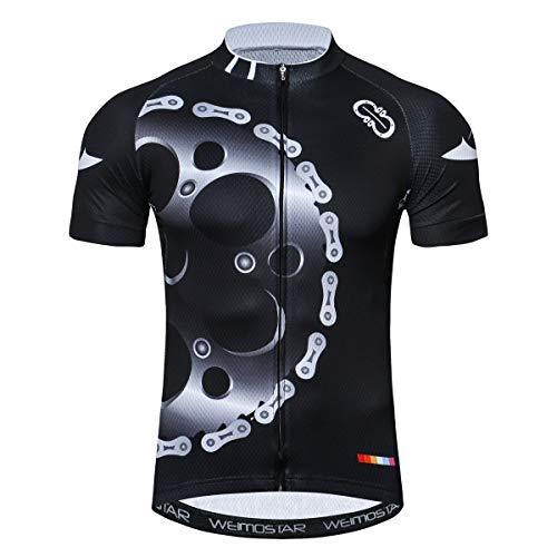 Men Cycling Jersey Short Sleeve Tops Pro Team Downhill Shirt Black Gear