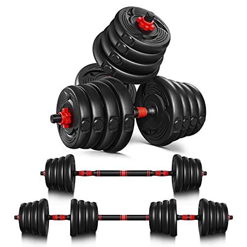 Juego de mancuernas ajustables pesas: juego de 2 mancuernas de plástico, cortas, largas, ajustables, 3 kg, 5 kg, 10 kg, 20 kg, 30 kg, para entrenamiento aeróbico, fitness y gimnasio