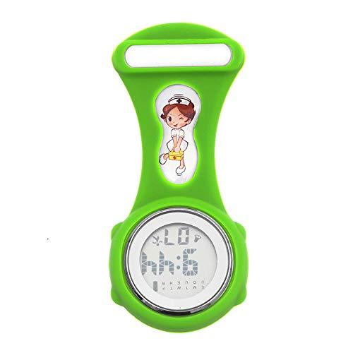 Cxypeng Taschenuhr für Krankenschwestern,Digitale Anzeige Kalender Timing elektronische Krankenschwester Uhr, leuchtende Silikonuhr-grün,Pulsuhr Krankenschwester