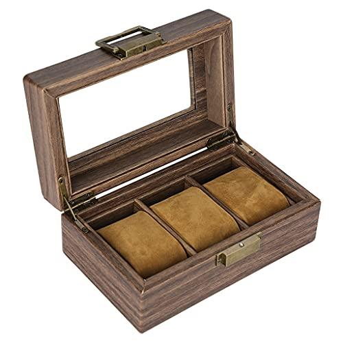 F Fityle Exhibición del Organizador de La Caja de La Caja del Reloj para Los Hombres Y Las Mujeres, Caja de Madera con La Tapa de Cristal Y El Forro de Terciop - 3 Ranuras