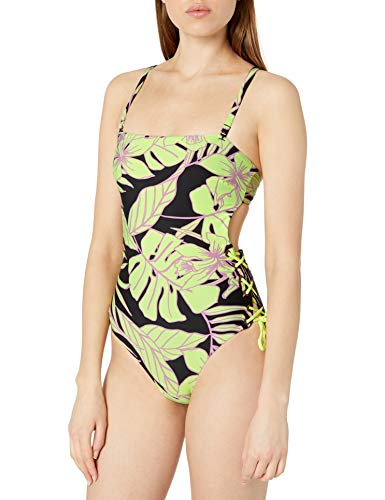 Maaji Women's Arista with Lace Up Sides One Piece Swimsuit, Tropic Lime Green Floral, Small