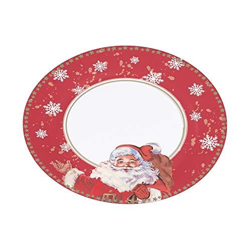 Le Nappage - Assiettes en Carton Recyclé Décoré Santa Claus - Diamètre 23 cm - Lot de 20 Assiettes Jetables en Carton Rigide
