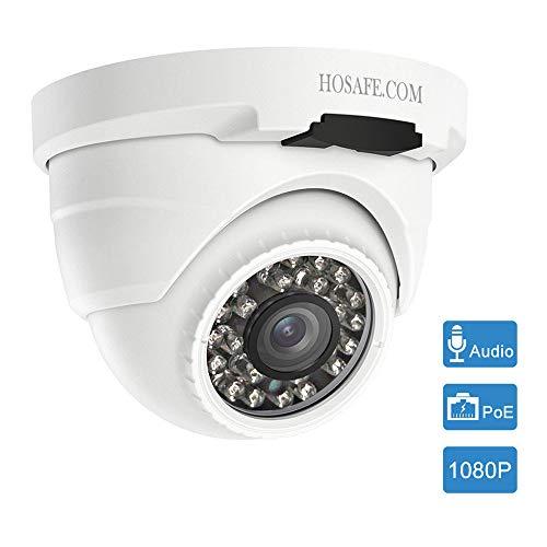 HOSAFE POE Kamera Outdoor 1080P mit Audio, Home Security Überwachungskamera, 50ft Nachtsicht, Motion Detection Alarm, kompatibel mit ONVIF NVR oder Software (Blur Iris, Ispy, Synology, etc)