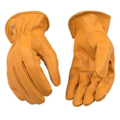 Kinco - Unlined Buffalo Leather Work Gloves, Extremely Durable, Easy-On Cuff, Fitted Elastic Wrist, (Style No. 81)